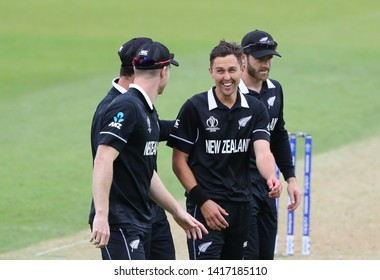 LONDON, ENGLAND. 05 JUNE 2019: Martin Guptill of New Zealand celebrates taking the wicket of Mosaddek Hossain of Bangladesh during the Bangladesh v New Zealand, ICC Cricket World Cup match