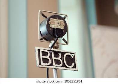 london, england, 05/05/2017 A metal vintage grampian retro bbc british broadcasting corporation microphone