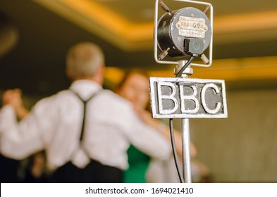 london, england, 05/05/2017 A metal vintage grampian retro bbc british broadcasting corporation microphone in a lovely vintage environment. BBC news broadcast station in england.