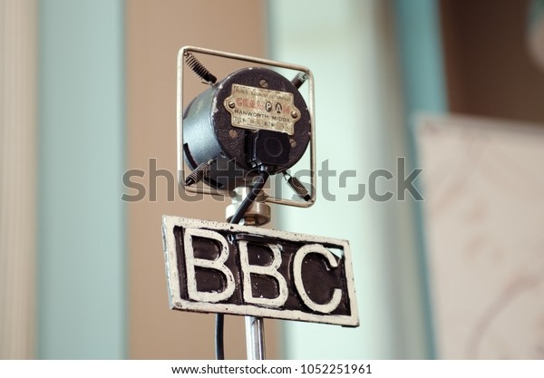 london, england, 05/05/2017 A metal vintage grampian retro bbc british broadcasting corporation microphone