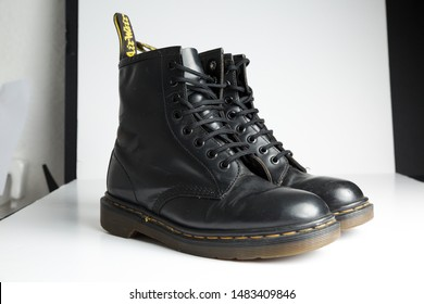 london, england, 05/05/2019 Dr Martens 1460 Black Leather Boots 8 Eye lace hole. fashionable punk historic british made leather boots. dr martens air war with bonding soles. built to last.