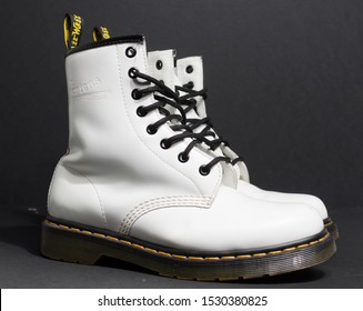london, england, 05/05/2019 Dr Martens 1460 white Leather Boots 8 Eye lace hole. fashionable punk historic british made leather boots. dr martens air war with bonding soles. built to last.