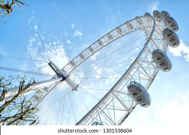 London, England - 05.08.2016: The London Eye is a cantilevered observation wheel on the South Bank of the River Thames in London. It is Europe's tallest cantilevered observation wheel