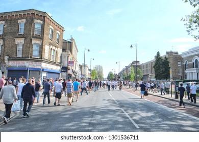 London, England - 05.08.2016: People going to a football match (Tottenham Hotspur - Southampton 1-2)