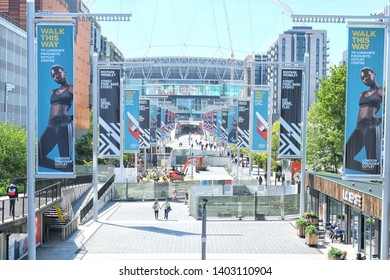 London, England - 05.13.2019: London is the capital and largest city of both England and the United Kingdom. The Olympic Way and Wembley Stadium