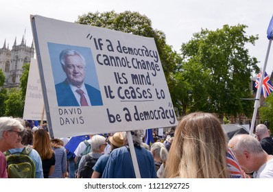 London / England - 06 23 2018 : Pro-European Union protester at the Peoples Vote anti-Brexit march in Parliament Square