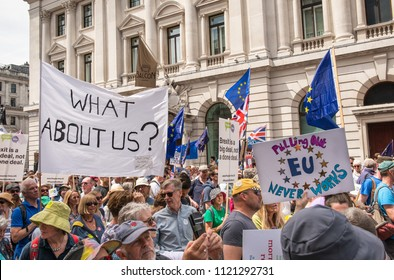 London / England - 06 23 2018 : Mass of Pro-European Union protesters at the Peoples Vote anti-Brexit march from Pall Mall to Westminster