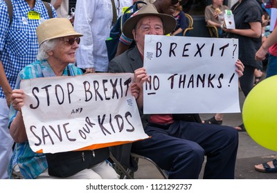 London / England - 06 23 2018 : Elderly  Pro-European Union protesters demonstrating at the Peoples Vote anti-Brexit march to Westminster