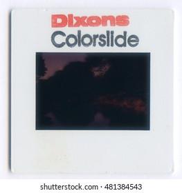 London, England, 06/06/2016 Dixons colorslide Vintage Slide film mount,isolated on a white background