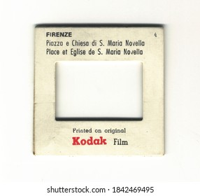 London, England, 06/06/2016 Kodachrome kodak film Transparency Vintage Slide film mount, isolated on a white background