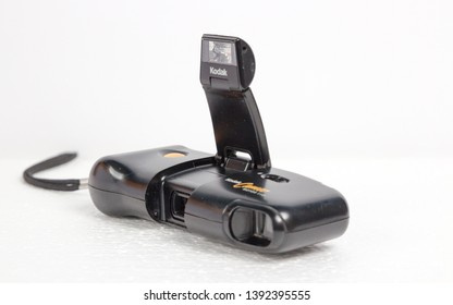 London, England, 08/05/2019A retro Kodak Cameo Motor 110 35mm film camera shot in a professional studio with speedlights and flash guns creating perfecting lighting on this hipster vintage camera