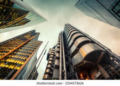 London, England, 08/11/2019 Lloyds TSB tower looking upwards