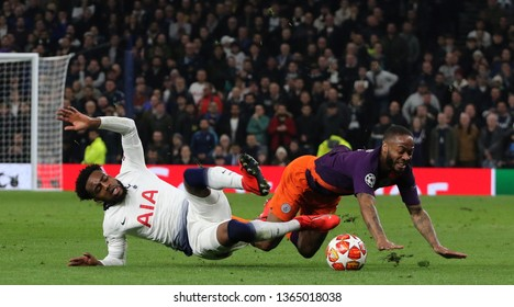 LONDON, ENGLAND: 09 MAR 2019. Danny Rose of Tottenham and Raheem Sterling of Man City compete for the ball during the UEFA Champions League Quarter Final, First Leg match