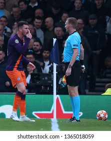 LONDON, ENGLAND: 09 MAR 2019. Aymeric Laporte of Man City gestures at the assistant referee during the UEFA Champions League Quarter Final, First Leg match