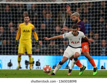 LONDON, ENGLAND: 09 MAR 2019. Harry Winks of Tottenham and Sergio Aguero of Man City compete for the ball  during the UEFA Champions League Quarter Final, First Leg match