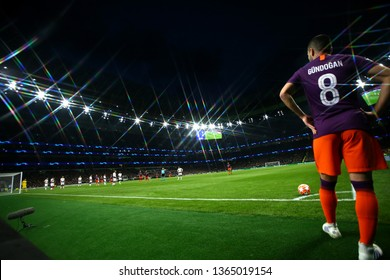 LONDON, ENGLAND: 09 MAR 2019.  (Editors note, a filter has been used during the taking of this image) Ilkay Gundogan of Man City prepares to take a corner during the UEFA Champions League Quarter Fina
