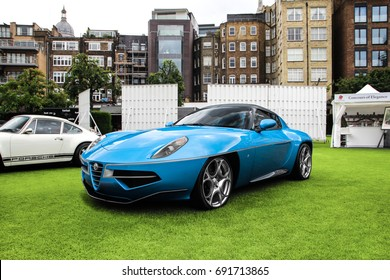 London, England - 09.06.17: Alfa Romeo Disco Volante Spyder on the lawn of HAC grounds in central London. Only 7 of these sports cars were made and sold to customers.