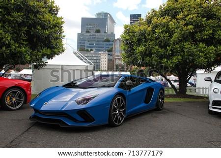 London England 090617 Blue Lamborghini Aventador Stock Photo Edit