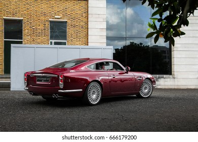London, England - 09.06.17: David Brown Speedback GT supercar, an homage to Aston Martin DB5, is leaving a classic cars event at HAC grounds in London.