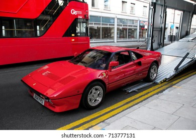 London, England - 09.06.17: Ferrari 288 GTO supercar loaded in a truck at supercar concours event held in central London. The 1970s sports car is one of the rarest flagship models of the Italian brand