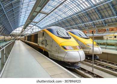 LONDON, ENGLAND - 1 MAR 2016: The Eurostar high-speed bullet train, which connects Paris Gare du Nord to London St. Pancras station, celebrated its 20th anniversary in November 2014.