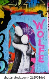 LONDON, ENGLAND -12 MARCH 2015- Editorial: On March 8, the Femme Fierce female street artist collective took over the Leake Streetâ??s Graffiti Tunnel on in honor of International Womenâ??s Day.
