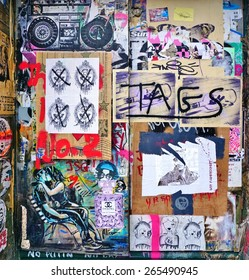 LONDON, ENGLAND -12 MARCH 2015- Editorial: Painted walls and graffiti art are scattered in the Old Street, Brick Lane and Shoreditch area in East London in the heart of Banglatown.