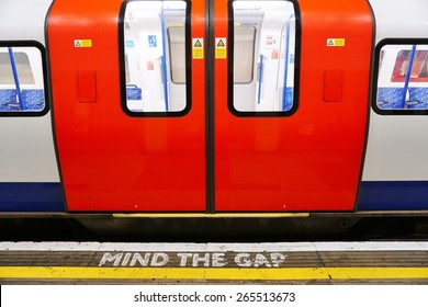 LONDON, ENGLAND -12 MARCH 2015- Editorial: The London Underground (familiarly called the Tube) is a public transit system serving 270 stations in greater London. Passengers pay with the Oyster card.