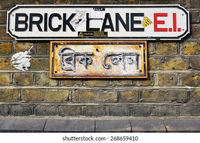 LONDON, ENGLAND -12 MARCH 2015- Editorial: The street of Brick Lane in East London, in the heart of Banglatown, is one of the centers for graffiti street art in London.