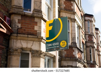 London, England - 13 November 2016: Foxtons Estate agent sign outside a row of Victorian terraced houses in London. Foxtons is one of the leading UK real estate agents in London.