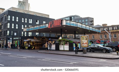 London, England - 13 November 2016: PUMP Shoreditch, a street food market in East London's Shoreditch, with several street food vendors, music and cafes.