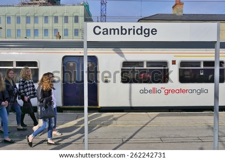 LONDON, ENGLAND -15 MARCH 2015- Editorial: Abellio Greater Anglia trains bound for Cambridge, England, depart London from the Liverpool Street station.