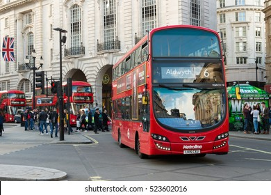 London, England - 15 Oct, 2016: Double Decker red bus at Piccadilly Circus, London. There are iconic symbol for the London city.