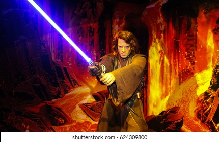 London, England - 17 March, 2017: Shot of Anakin Skywalker - Darth Vader taken in Madame Tussaud`s, London