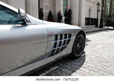 London, England - 17.06.17: front side view of a Mercedes-Benz SLR McLaren 722S Roadster, parked by a luxury hotel in Knightsbridge area of central London. Only 150 of those cars are made.