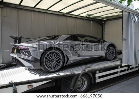 London England 170617 Grey Lamborghini Aventador Stock Photo Edit