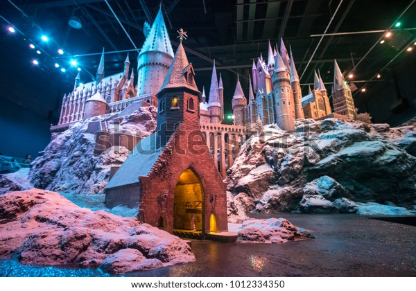 London, England - 18 November 2017:  A model of Hogwarts in Warner Brothers Studio tour, The making of Harry Potter at Leavesden Studio in London.