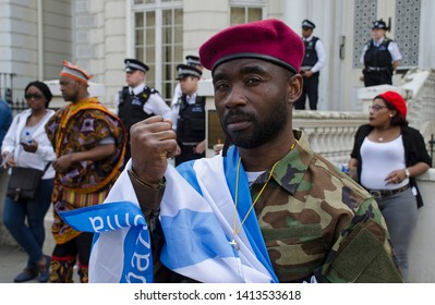 London. England. 1st June, 2019. Demonstration outside High Commission of Cameroon. Protest against Cameroon Govt's war against Ambazonia separatists in the Southern Cameroons region.