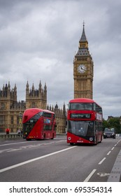 London, England - 2 August 2017: The Big Ben and street view of London