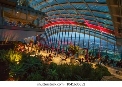LONDON, ENGLAND - 2 JAN 2017: Roof Interior of 20 Fenchurch street, Skygarden building. Its a new skyscraper tower over central london and has also been nicknamed the walkie talkie building.