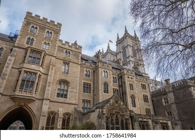 London, England. 2020 Dean's Yard, Westminster, comprises most of the remaining precincts of the former monastery of Westminster - close-up