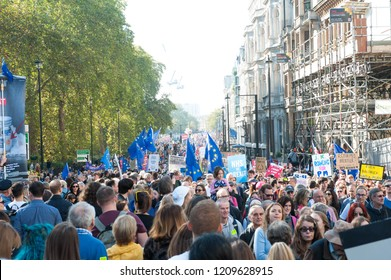 "London England. 20th Oct 2018. Thousands of people gathered in central London for what organisers hope will be the ""biggest, loudest and most important"" anti-Brexit march since the referendum."