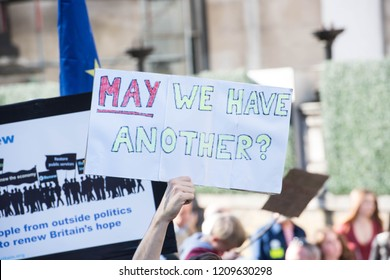 """London England. 20th Oct 2018. Thousands of people gathered in central London for what organisers hope will be the """"biggest, loudest and most important"""" anti-Brexit march since the referendum."""
