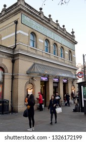 LONDON, ENGLAND - 21 FEBRUARY 2018: Opened by the Metropolitan Railway in 1868, as an extension from Paddington, Gloucester Road Underground is now served by the District, Circle and Piccadilly lines.