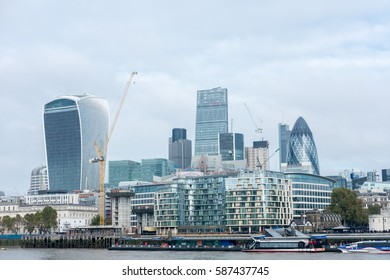 London, England - 21 October 2016 : London view on business modern district.