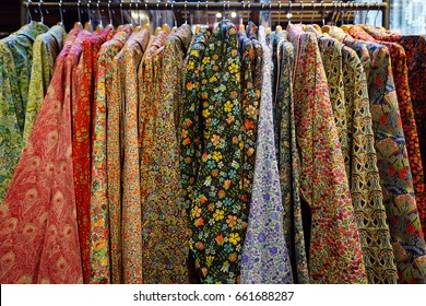 LONDON, ENGLAND -22 JUN 2017-  Founded in 1875, the House of Liberty department store on Regent Street in London is known around the world for its colorful floral and graphic print fabrics.