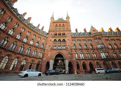 London, England - 22 June 2018 : Exterior view of St Pancras Railway Station. This building now houses the luxury St Pancras Renaissance Hotel.