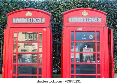 London, England - 22nd November 2017. A red telephone booth in Bayswater Road, Lodon
