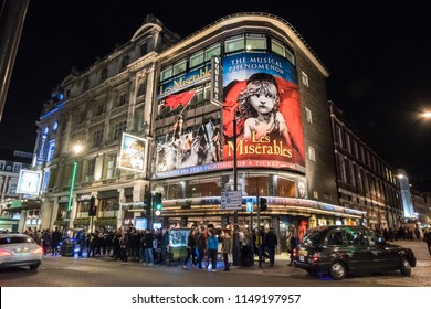 London, England - 23 February 2017:  Les Miserable, a French historical novel by Victor Hugo. It is the famous musical at Queens Theater in London