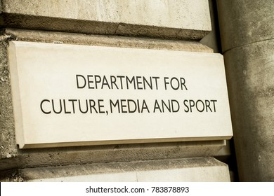 London, England. 23rd December 2017. EDITORIAL -Close up of DEPARTMENT OF CULTURE, MEDIA AND SPORT stone sign on the exterior of government building in Whitehall, London, England.